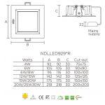 Светодиодная панель NVC NDLLED9298R 30W 4000K