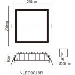 Cветодиодный потолочный cветильник NLED9018R 30W
