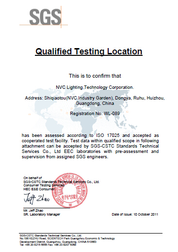 SGS Laboratory Accreditation